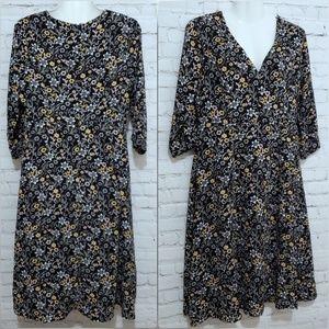 Women's Black with Floral Print Dress sz M